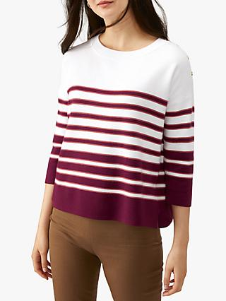 Pure Collection Button Jumper, Merlot/White