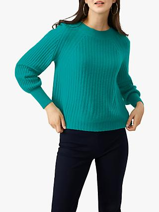 Pure Collection Boat Neck Cashmere Jumper, Winter Jade