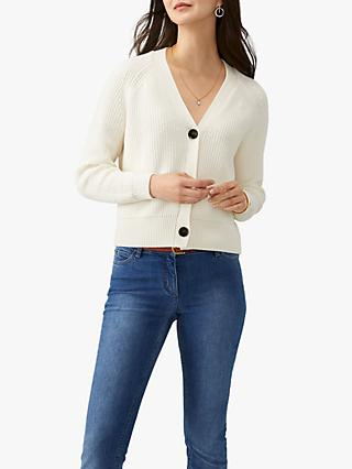 Pure Collection Relaxed Cardigan, Soft White