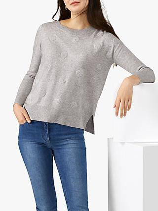Pure Collection Texture Spot Split Hem Sweater, Heather Dove