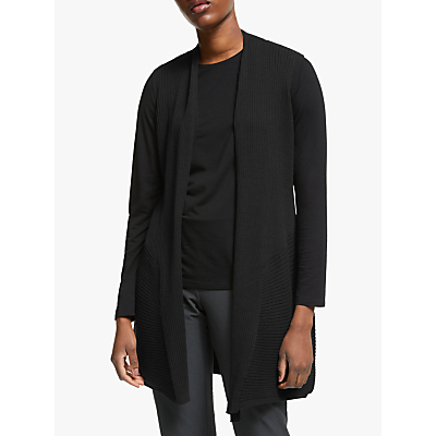eileen fisher long merino wool vest, black