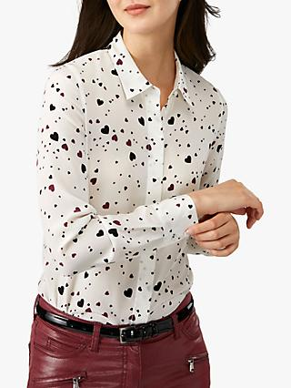 Pure Collection Relaxed Heart Print Silk Blouse, Ivory