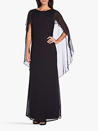 Adrianna Papell Beaded Cape-Style Dress, Black