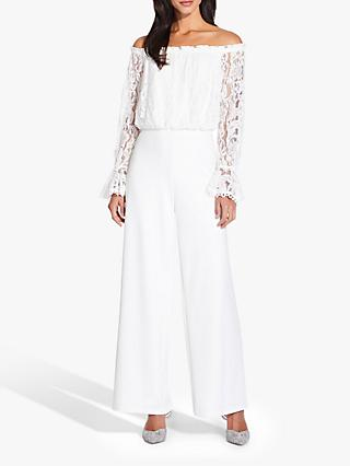 Adrianna Papell Lace Crepe Jumpsuit, Ivory