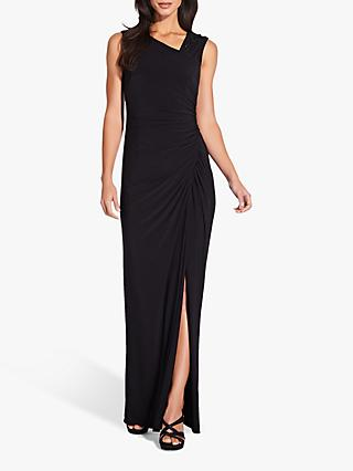 Adrianna Papell Draped Jersey Gown, Black