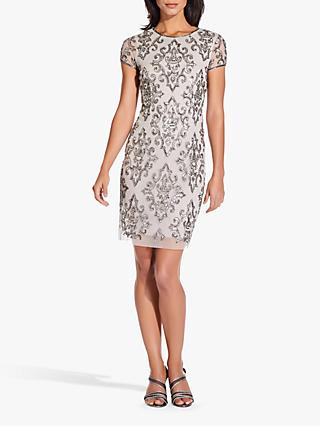 Adrianna Papell Short Fully Beaded Dress, Silver