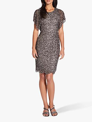 Adrianna Papell Flutter Sleeve Embellished Dress, Lead