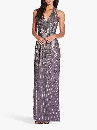 Adrianna Papell Beaded Halterneck Dress, Moonscape