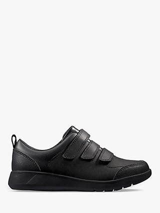 Clarks Children's Scape Sky Leather Shoes, Black