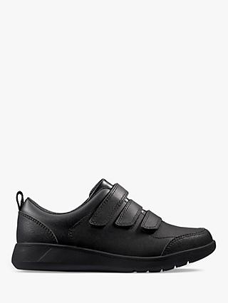 Clarks Scape Sky Leather Riptape Shoes, Black