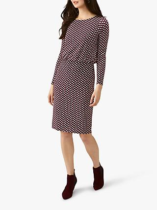 Pure Collection Jersey Blouson Dress, Burgundy