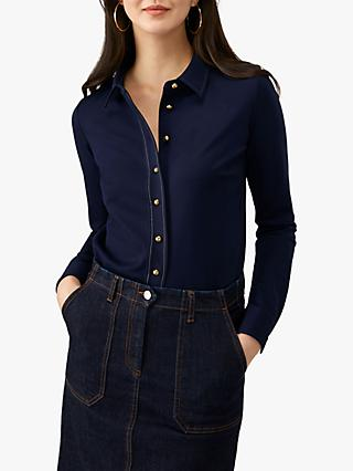 Pure Collection Ponte Shirt, Navy
