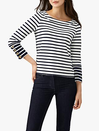 Pure Collection Cotton Jersey Striped Top, Ecru/Navy