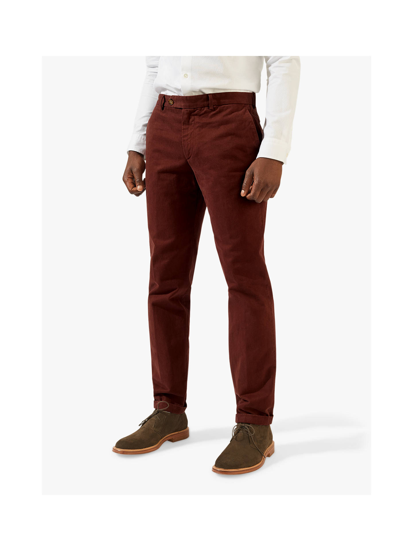 Buy Jigsaw Piper Garment Dye Chinos, Claret, 28R Online at johnlewis.com