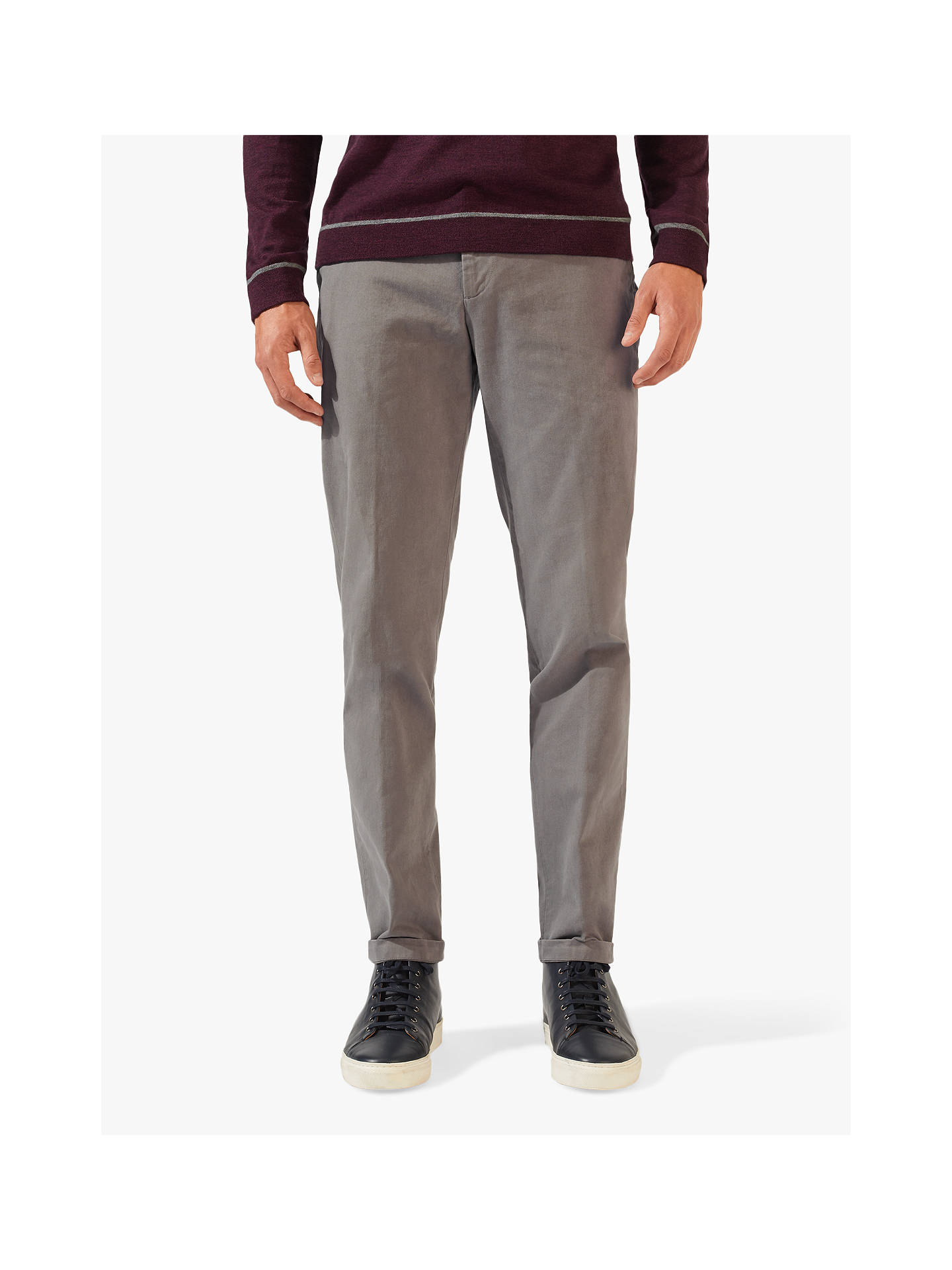 Buy Jigsaw Piper Garment Dye Chinos, Dove Grey, 28R Online at johnlewis.com