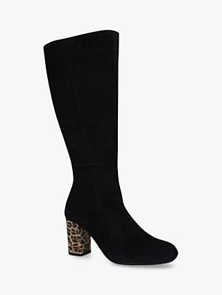 Carvela Comfort Veil Suede Knee High Boots, Black