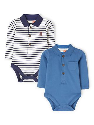 John Lewis & Partners Baby Collar Long Sleeve Bodysuits, Pack of 2, Blue