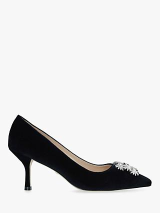 Stuart Weitzman Kelsey Strass Velvet Stiletto Heel Court Shoes, Blue Navy
