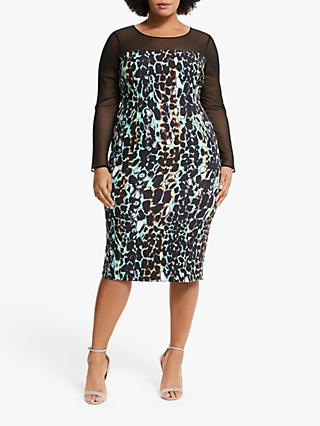 Persona by Marina Rinaldi Sheer Sleeve Print Dress, Green
