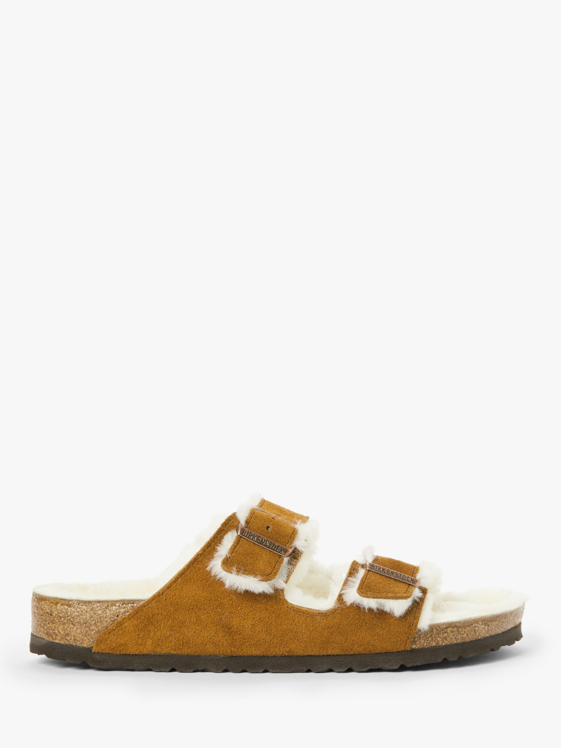 Buy Birkenstock Arizona Suede Sheepkin Sandals, Mink, 5.5 Online at johnlewis.com