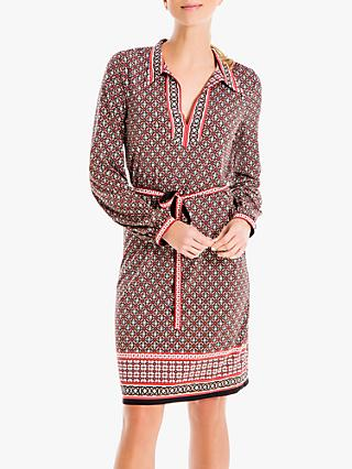 Max Studio Long Sleeve Printed Jersey Shirt Dress, Black/Burgundy