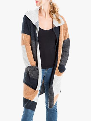 Max Studio Colour Block Cardigan, Black/Camel/Oat