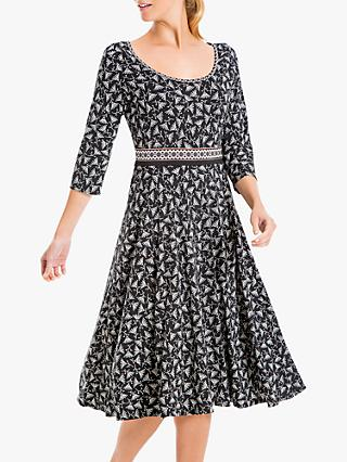 Max Studio 3/4 Sleeve Floral Print Jersey Dress, Black/Blush