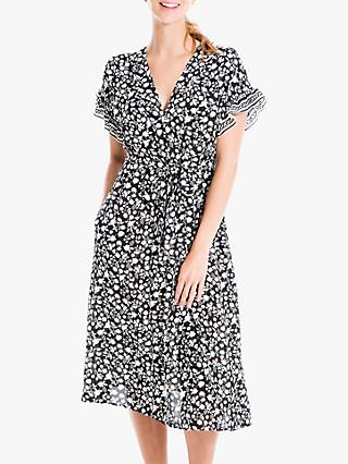 Max Studio Tie Waist Floral Print Dress, Black/Winter White