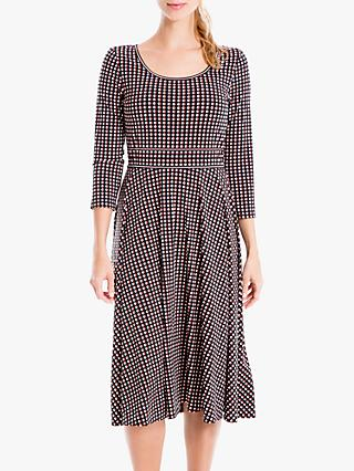 Max Studio 3/4 Sleeve Spot Print Jersey Dress, Black/Terracotta