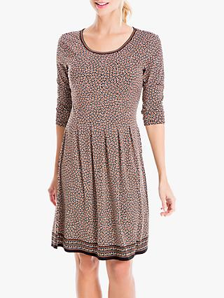 Max Studio Speckle Print Jersey Dress, Black/Terracotta