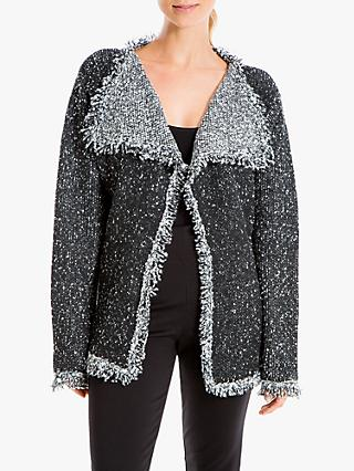 Max Studio Fringe Tweed Jacket, Charcoal