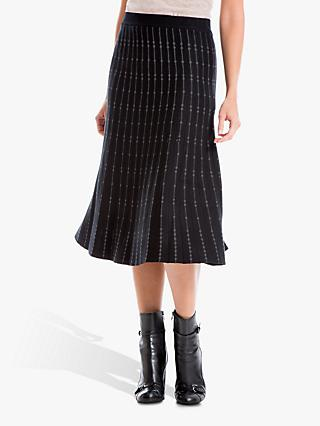 Max Studio Knitted Skirt, Black/Charcoal
