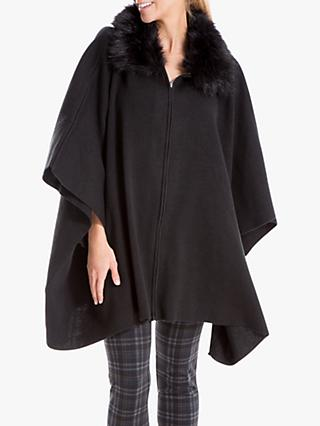 Max Studio Faux Fur Trim Cape, Black