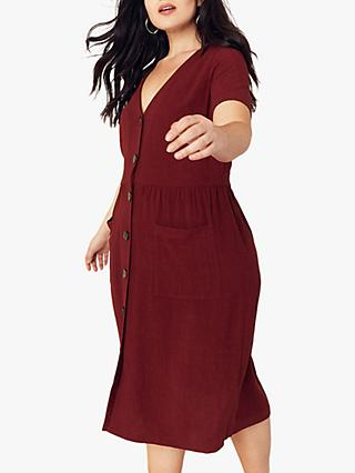 Oasis Curve Button Through Midi Dress, Berry