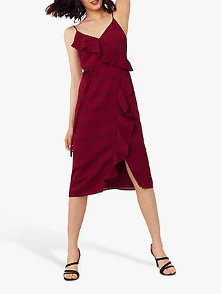 Oasis Stripe Frill Midi Dress, Burgundy