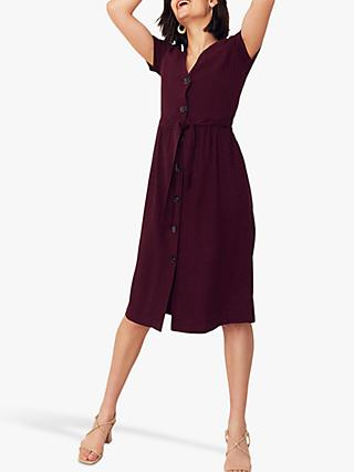 Oasis Button Through Midi Dress, Berry