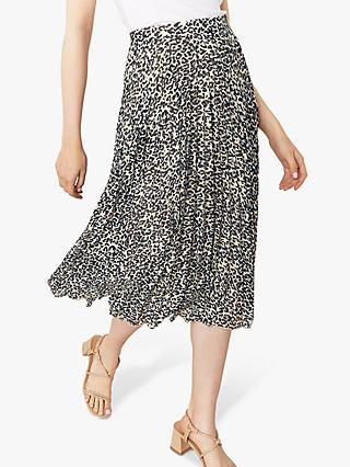 Oasis Leopard Print Pleated Skirt, Multi