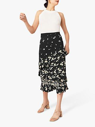 Oasis Daisy Tiered Midi Skirt, Black
