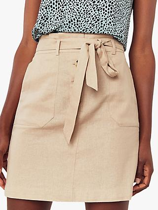 Oasis Belted Paperbag Skirt, Stone