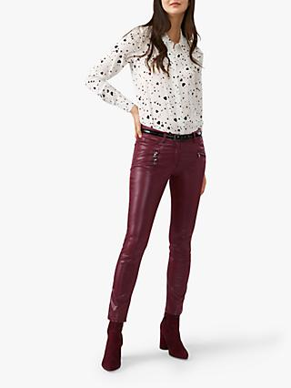 Pure Collection Coated Skinny Jeans, Burgundy