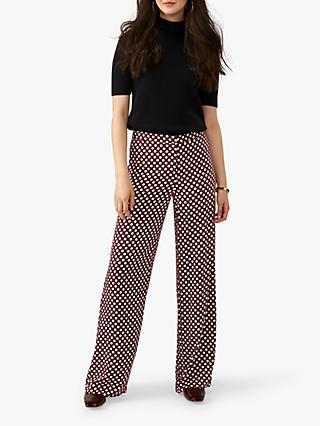 Pure Collection Wide Leg Polka Dot Print Trousers, Burgundy Spot