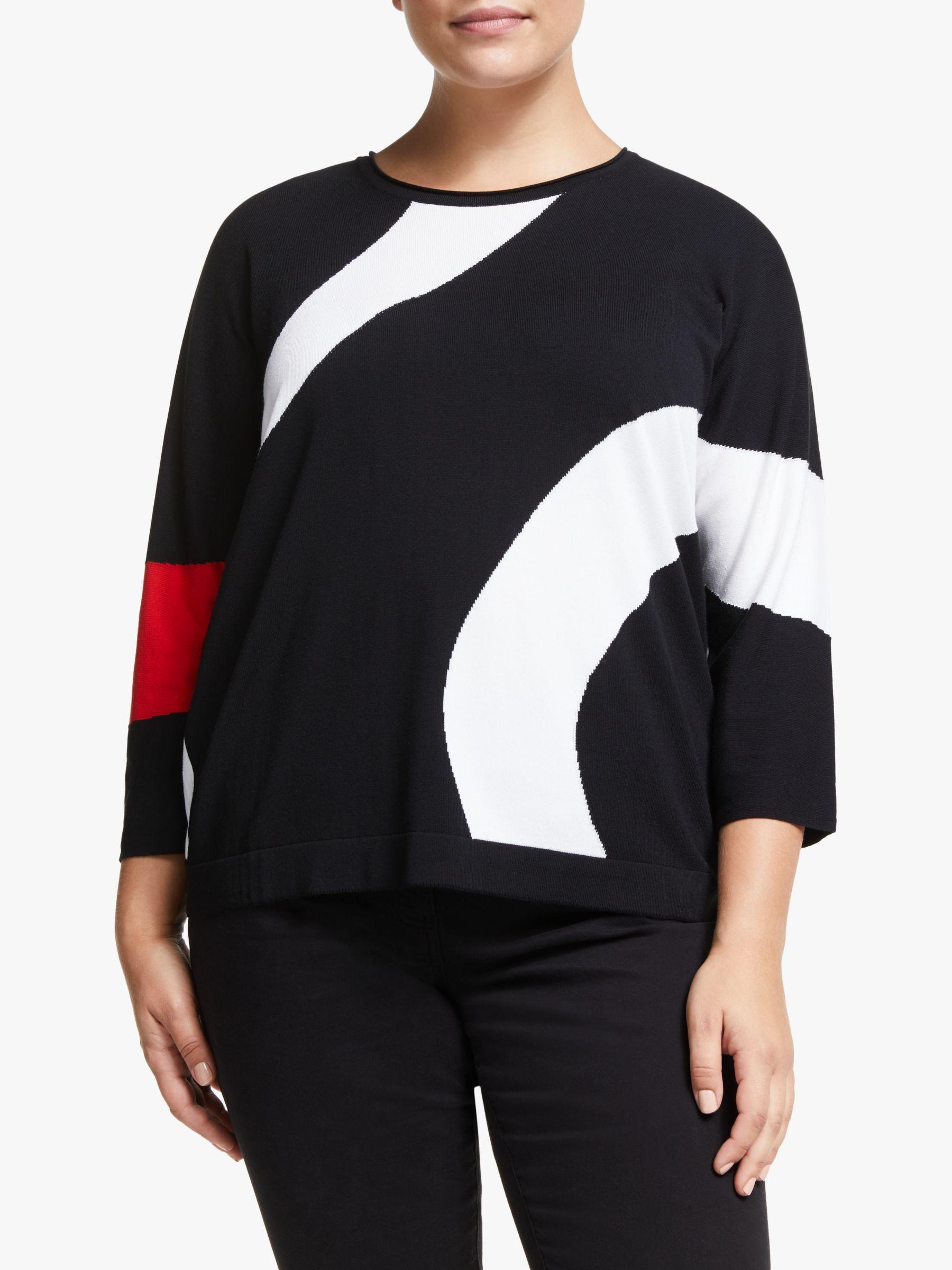 Persona by Marina Rinaldi Persona by Marina Rinaldi Swirl Stripe Jumper, Black