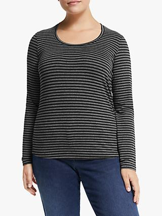 Persona by Marina Rinaldi Long Sleeve Stripe Jersey Top