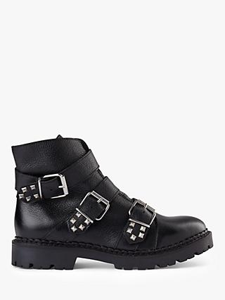 SHOE THE BEAR Hailey Buckle Leather Ankle Boots, Black