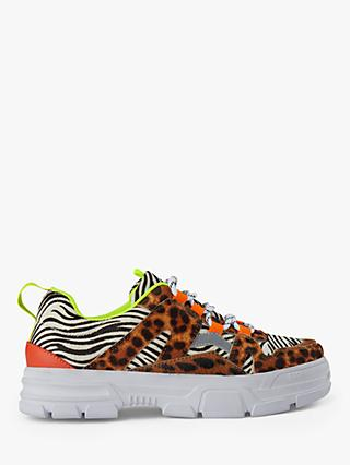 SHOE THE BEAR Gwen Animal Mix Lace Up Trainers, Multi