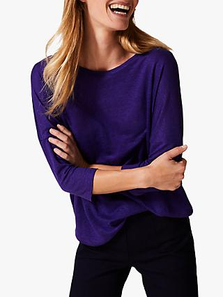 Phase Eight Catrina Linen Top, Purple