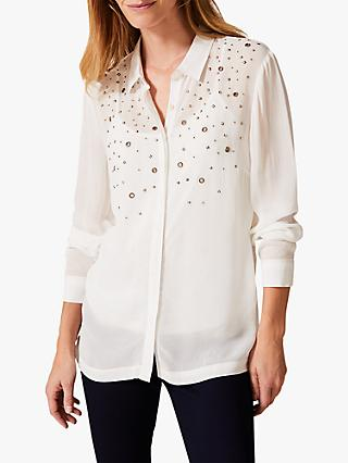 Phase Eight Eyelet Chiffon Blouse, Ivory