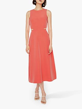 Warehouse Open Back Midi Dress, Bright Pink
