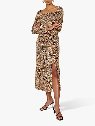 Warehouse Square Neck Animal Print Dress, Neutral