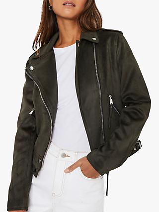 Warehouse Faux Suede Biker Jacket